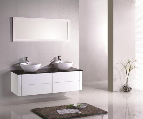 C double vasque 150 cm 618 eu meubles de salle de bain for Meuble de salle de bain noir pas cher